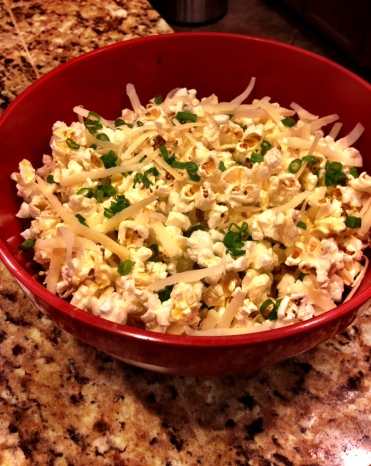 Air popped corn with Gruyere cheese, sea salt and chives