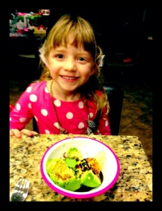 Avocado with EVOO and Vinegar is one of her favorites