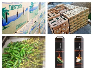 10's of thousands of pounds of fresh California Jalapenos are used to make our Hot Virgin Jalapeno and Jalapeno-Garlic oil